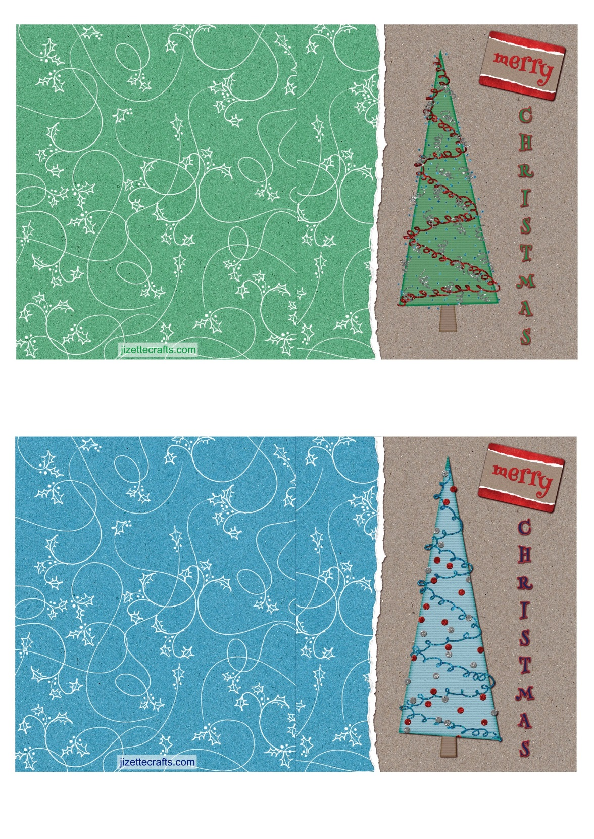 Paper Christmas Tree Printable Cards
