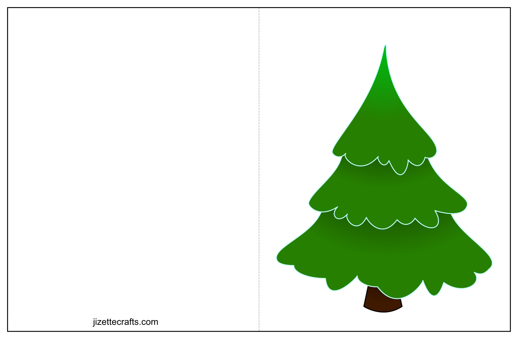 printable collage christmas tree card craft - Christmas Tree Card
